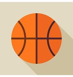 Flat Sports Ball Basketball with Long Shadow vector image vector image