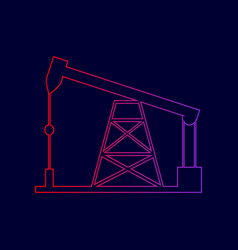 oil drilling rig sign line icon with vector image