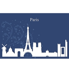 Paris city skyline on blue background vector image vector image
