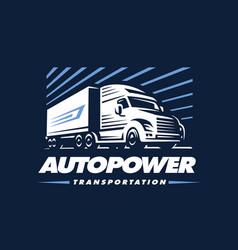 truck logo on dark background vector image