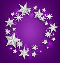 Abstract greeting round frame made of silver stars vector