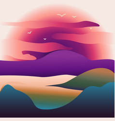 abstract image of a sunset or dawn sun over the vector image