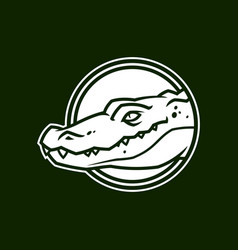 Alligator head in circle crocodile character icon vector