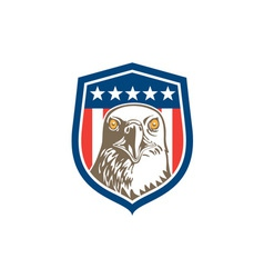 American Bald Eagle Head Stars Shield Retro vector