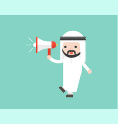 Arab businessman holding megaphone ready to use vector