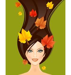 autumn woman vector image