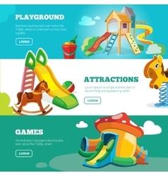 Banners set children playground vector