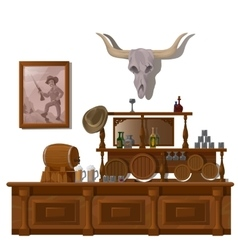 Bar in wild West style decor location vector