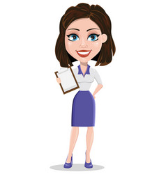 Beautiful business woman holding blank clipboard vector