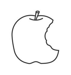 Bitten apple linear icon vector