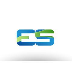 Blue green es e s alphabet letter logo vector