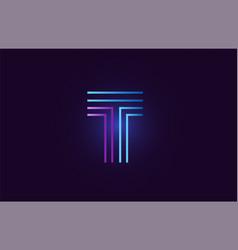 Blue pink t gradient alphabet letter logo icon vector
