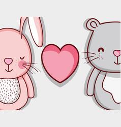 bunny and bear cute doodle cartoons vector image