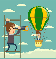 Businessman on a ladder using spyglass above cloud vector