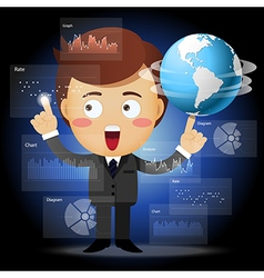 businessman with globe working with data process vector image
