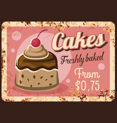 cakes rusty metal plate confectionery sweets vector image