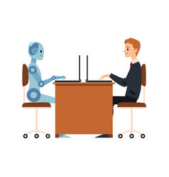 cartoon businessman and blue robot working vector image