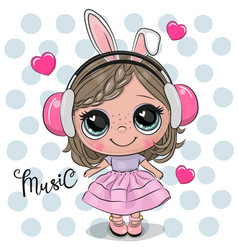 Cartoon girl in a pink dress and headphones vector