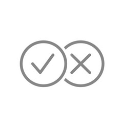 Check marks line icon tick and cross checkmarks vector