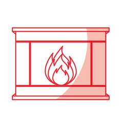 Christmas fireplace icon vector