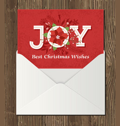 christmas poinsettia decoration greeting card vector image