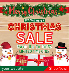 christmas sale banner design with snowman gift box vector image