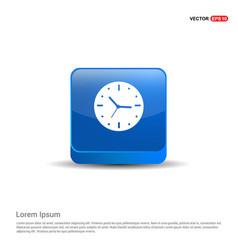 clock icon - 3d blue button vector image