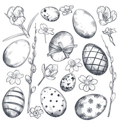 collection hand drawn ornate easter eggs vector image