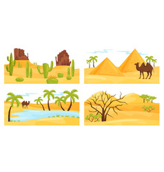 Colorful desert landscapes with camel and rocky vector