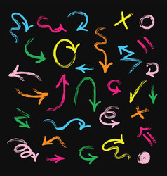 colorful hand drawn direction arrows set on black vector image