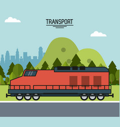 colorful poster of transport with train on the vector image