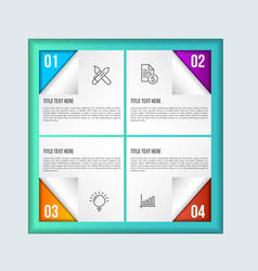 colorfull infographic template with 3d paper label vector image