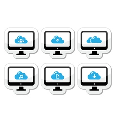 Computer and cloud icons set for web vector