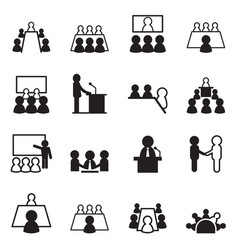 Conference icon set vector