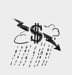 crisis dollar rate decrease money symbol vector image
