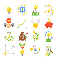 crowd funding icon set vector image