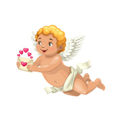 Cupid with love letter angel valentines day vector