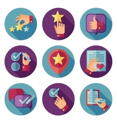 Customer service flat icons set vector