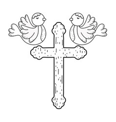 cute doves birds with cross vector image