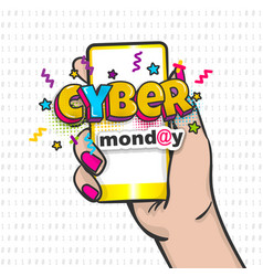 Cyber monday woman hand pop art hold phone vector