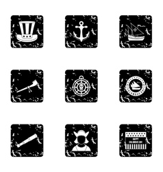 Discovery america icons set grunge style vector