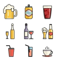 Drink Icons Line Art Isolated Set vector image