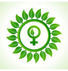 Eco male symbol inside the leaf background vector image