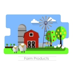 Farming background with barn vector