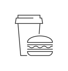 fast food linear icon on white background vector image