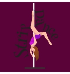 Female Pole dancer woman dancing on pylon sexy vector