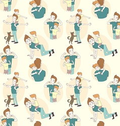 Festive seamless doodle pattern for fathers day vector image
