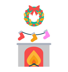 fireplace and socks hanging above decor wreath vector image