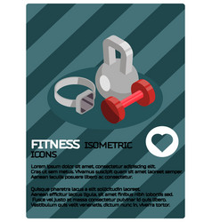 fitness color isometric poster vector image