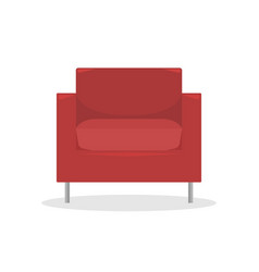 flat red modern armchair in retro style vector image